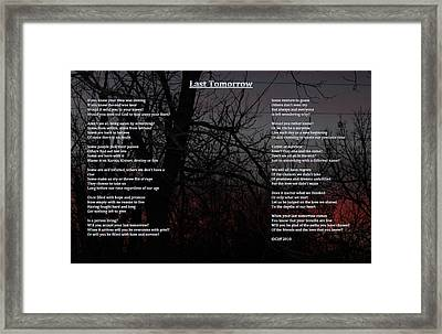 last Tomorrow Framed Print by Cliff Ball