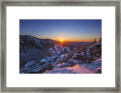 Last Winter Sunset Over Cannon Mountain Framed Print