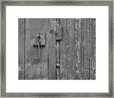 Latch On Garage Door Framed Print