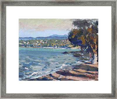 Late Afternoon At Dilesi Beach Athens Framed Print