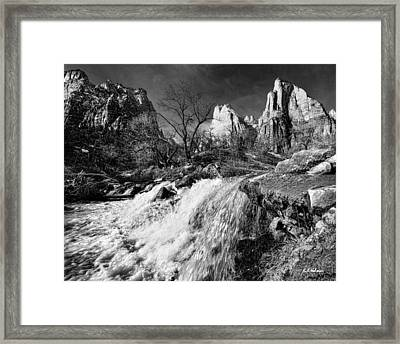 Late Afternoon At The Court Of The Patriarchs - Bw Framed Print by Christopher Holmes