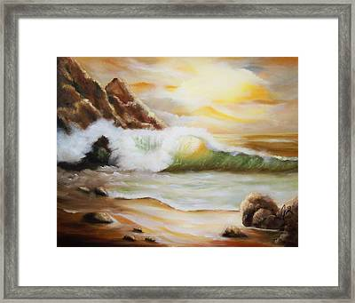 Late Afternoon Beach Framed Print by Joni M McPherson