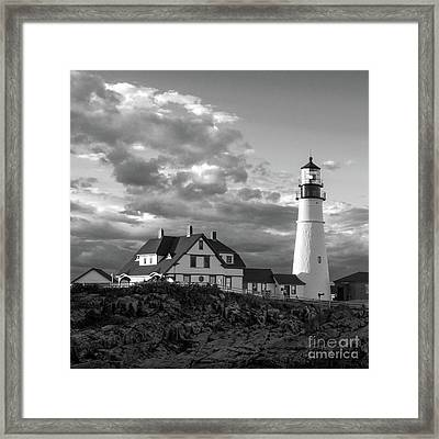 Late Afternoon Clouds, Portland Head Light  -98461-sq Framed Print