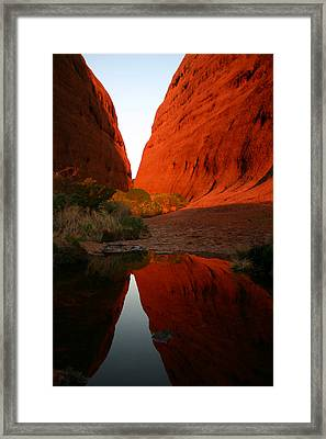 Late Afternoon Light And Reflections At Kata Tjuta In The Northern Territory Framed Print