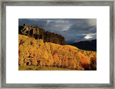 Framed Print featuring the photograph Late Afternoon Light On The Cliffs Near Silver Jack Reservoir In Autumn by Jetson Nguyen