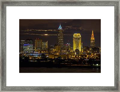 Late Autumn Moon Over Cleveland Framed Print