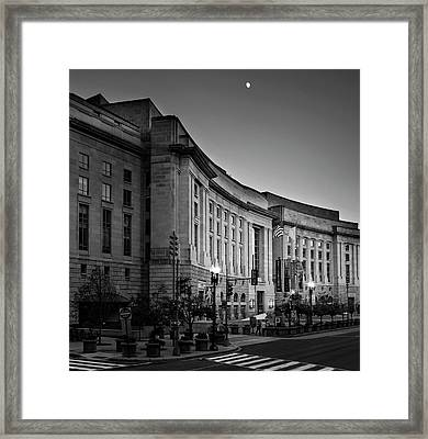 Framed Print featuring the photograph Late Evening At The Ronald Reagan Building In Black And White by Greg Mimbs