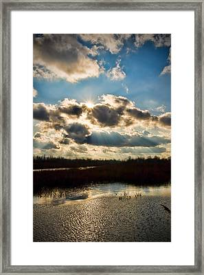 Late Evening By The River Framed Print by Michel Filion