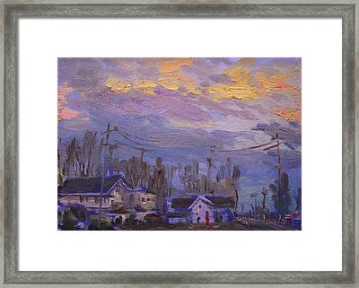 Late Evening In Town Framed Print by Ylli Haruni
