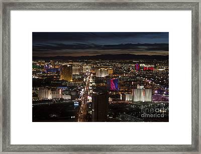 Late Evening On Los Vegas Strip Framed Print by Linda Phelps