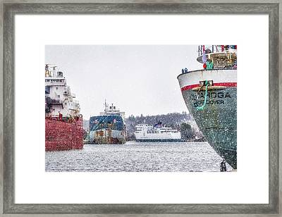 Late Harbour Snow Framed Print