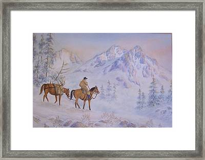 Late Hunt - In The Sawtooth Mountains Framed Print by Cherry Woodbury