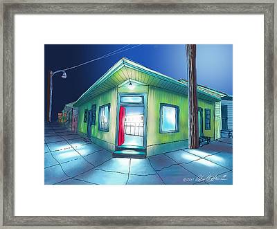 Late Night Launderette  Framed Print by Charles Harrison