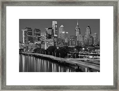 Late Night Philly Grayscale Framed Print by Frozen in Time Fine Art Photography