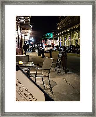 Late Night Sidewalk Cafe - New Orleans Framed Print by Greg Jackson