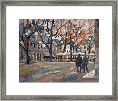 Late November At The Our Lady Square Maastricht Framed Print by Nop Briex
