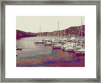 Late Summer Harbor Framed Print by Susan Maxwell Schmidt