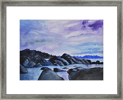 Late Sunset At The Lake I Framed Print by Linda Brody