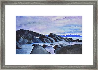 Late Sunset At The Lake II Framed Print by Linda Brody