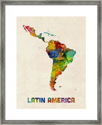 Latin America Watercolor Map Framed Print by Michael Tompsett