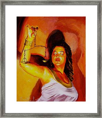 Latina Lady Justice Framed Print by Laura Pierre-Louis