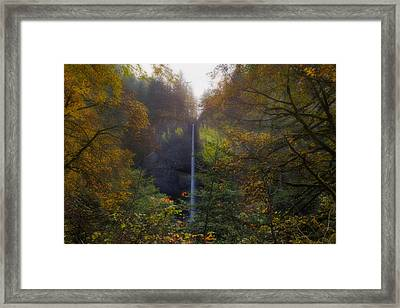 Latourell Falls In Autumn Framed Print by David Gn