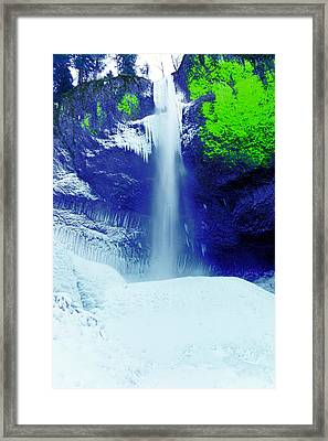 Latourell Falls In Winter Framed Print by Jeff Swan