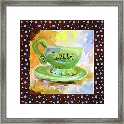 Latte Coffee Cup With Blue Dots Framed Print by Jai Johnson