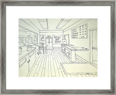 Latte For Work Framed Print by Heidi Copeman