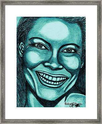 Laughing Girl In Blue 2 Framed Print by Richard Heyman