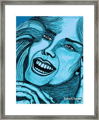 Laughing Girl In Blue Framed Print by Richard Heyman
