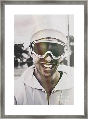 Laughing Man Wearing Ski Mask On Winter Holiday Framed Print