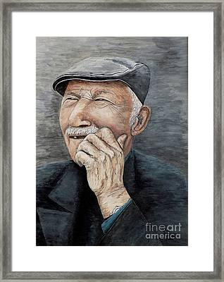 Framed Print featuring the painting Laughing Old Man by Judy Kirouac