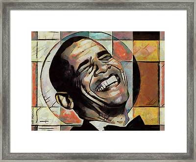 Laughing President Obama Framed Print by WD Mancini