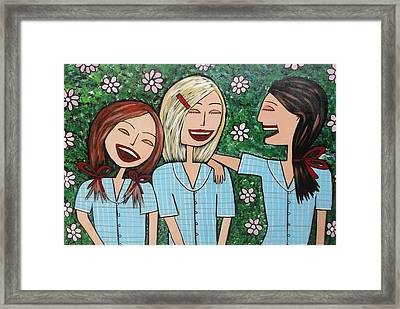 Laughing Schoolgirls Framed Print