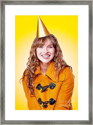 Laughing Winter Party Girl On Yellow Background Framed Print by Jorgo Photography - Wall Art Gallery