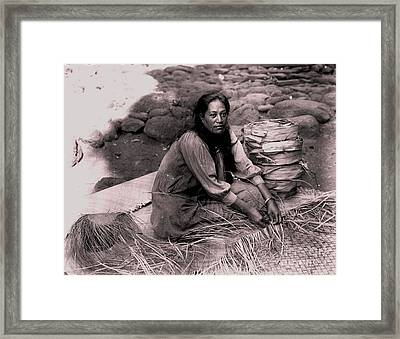 Lauhala Weaver Framed Print by Pg Reproductions