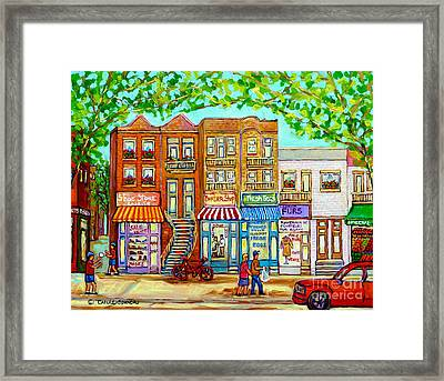 Laurier Street Circa 1960 Montreal Memories Vintage Store Fronts Apartments Family Life Canadian Art Framed Print by Carole Spandau