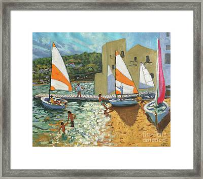 Launching Boats, Calella De Palafrugell, Spain Framed Print