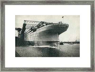 Launching Of The Rms Titanic Of The Framed Print by Vintage Design Pics