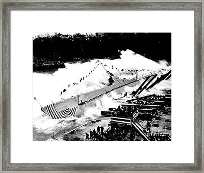 Launching Of The U S S Robalo Submarine 1943 Framed Print by Peter Gumaer Ogden Collection