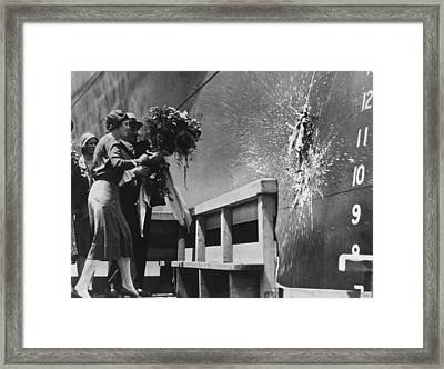 Launching The Ss Oriente Framed Print