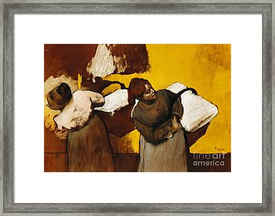 Laundresses Framed Print by Edgar Degas