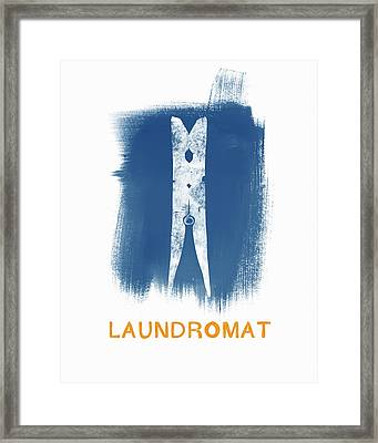 Laundromat- Art By Linda Woods Framed Print