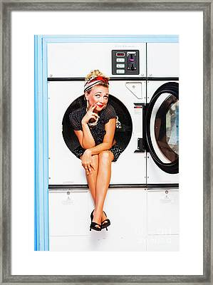 Laundromat Pin-up Portrait Framed Print