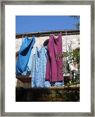 Framed Print featuring the painting Laundry Art by Esther Newman-Cohen