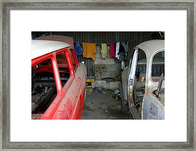 Laundry At Work Framed Print by Jez C Self
