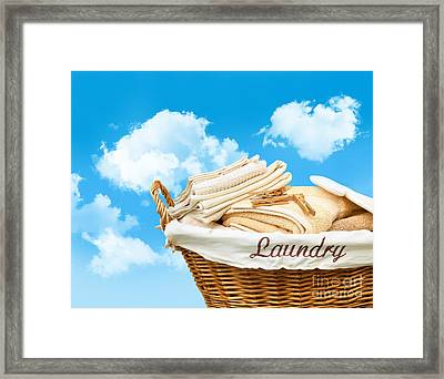Laundry Basket  Against A Blue Sky Framed Print