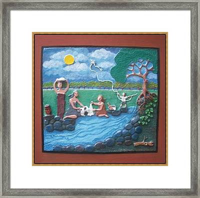 Laundry By The River Framed Print by Otil Rotcod