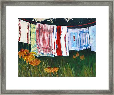 Laundry Day At Le Vieux Framed Print